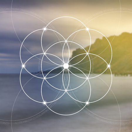 Flower of life - the interlocking circles ancient symbol. Sacred geometry. Mathematics, nature, and spirituality in nature. Fibonacci row. The formula of nature. Self-knowledge in meditation. Ilustracja