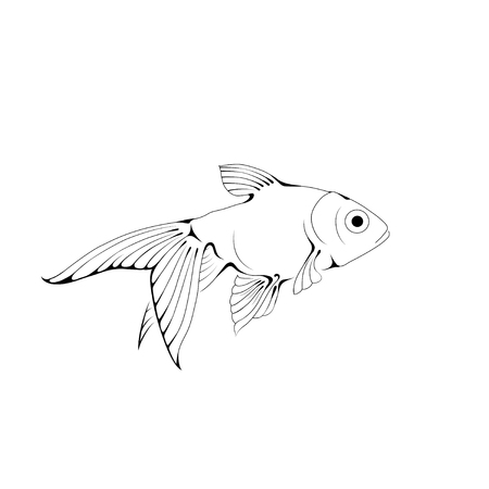 oceanic: Hand-drawn ink-stylized little goldfish swimming in blue water. Illustration