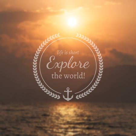 Travel and vacation design template. Vintage motivational badge in front of blurry photographic landscape.