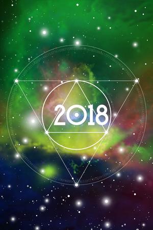Gruß-Karten-oder Kalender-Abdeckung des astrologischen neues Jahr-2018 auf kosmischem Hintergrund.