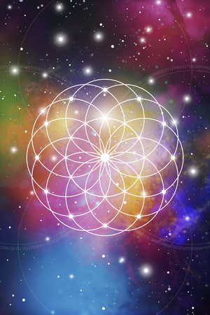 Flower of life - the interlocking circles ancient symbol on outer space background. Sacred geometry. The formula of nature on blurry photorealistic background.