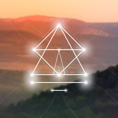 Sacred geometry symbol on blurred photo background. Mathematics and spirituality in nature vector illustration.