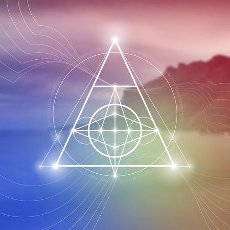 Símbolo de la geometría sagrada en el fondo de la foto borrosa. Matemáticas y espiritualidad en la ilustración de vector de naturaleza.