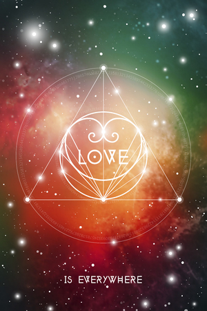 Sacred geometry astrology Valentine greeting card with geometric hipster style heart on colorful outer space background. Ilustração