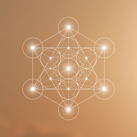 Megatron cube and flower of life futuristic vector illustration in front of natural blurry background. Sacred geometry magic symbol design template.