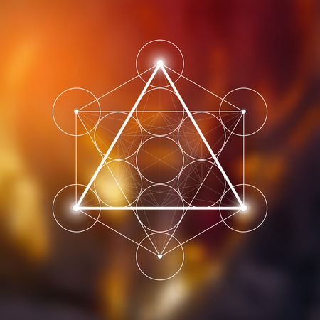 Fire element symbol inside Metatron Cube and Flower of Life in front of natural blurry background. Sacred geometry magic symbol futuristic vector design.