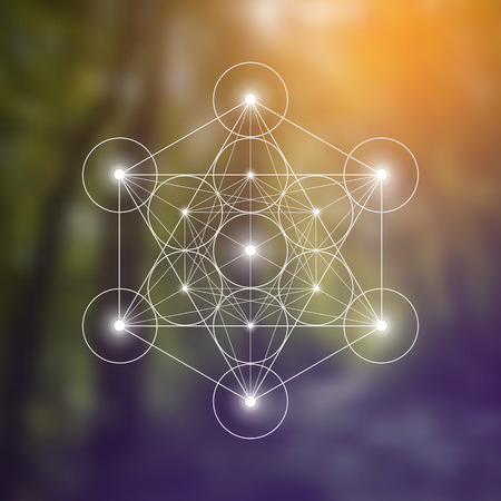 Metatron Cube and Flower of Life futuristic vector illustration in front of natural blurry background. Sacred geometry magic symbol design template.