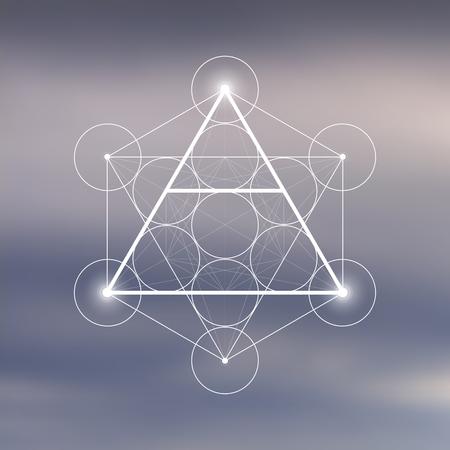 Symbole de l'élément d'air à l'intérieur du cube Metatron et de la fleur de vie devant un arrière-plan flou naturel. Conception de vecteur futuriste de géométrie sacrée. Vecteurs
