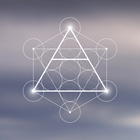 Air element symbol inside Metatron Cube and Flower of Life in front of natural blurry background. Sacred geometry futuristic vector design.