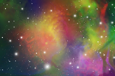 Elegant universe scientific outer space wallpaper. Cosmic light colorful nebula vector background for astronomy or astrology related art.