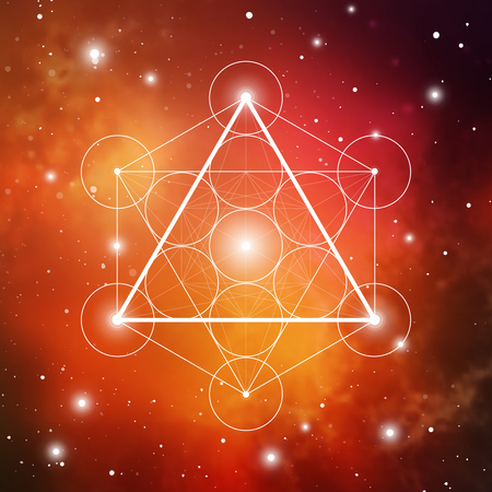 Fire element symbol inside Metatron Cube and Flower of Life in front of outer space cosmic background. Sacred geometry magic sign futuristic vector design.