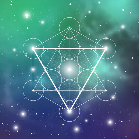 Water element symbol inside Metatron Cube and Flower of Life in front of outer space cosmic background. Sacred geometry magic sign futuristic vector design.