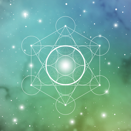 Spirit element symbol inside Metatron Cube and Flower of Life in front of outer space cosmic background. Sacred geometry magic sign futuristic vector design.
