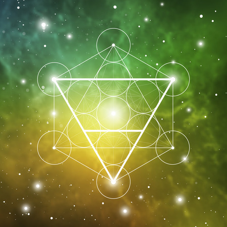 Earth element symbol inside Metatron Cube and Flower of Life in front of outer space cosmic background. Sacred geometry magic sign futuristic vector design. 스톡 콘텐츠