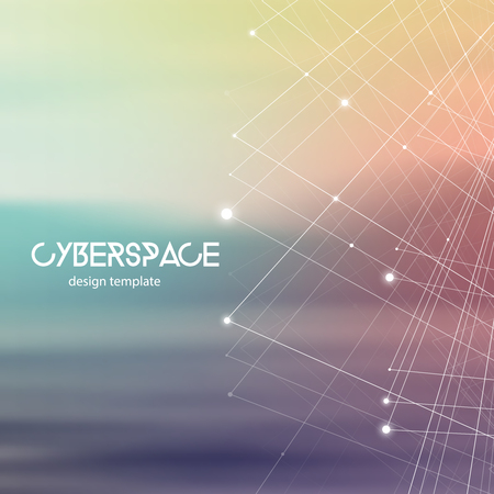 Cyberspace and network connection vector digital illustration. Futuristic technology design template with glowing particles and repeating fractal lines. Иллюстрация