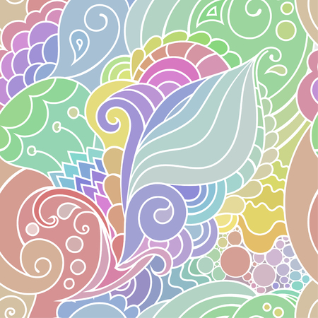 Boho style colorful textile pattern with waves and curles. Colorful oriental style seamless background. Çizim