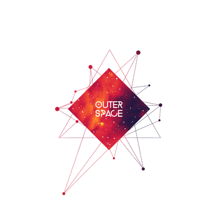 Outer space scientific template. Hipster interlocking geometry shapes with space texture. Vector design for music albums, posters, flyers, web and mobile application.