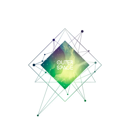 Outer space scientific template. Hipster interlocking geometry shapes with space texture. Vector design for music albums, posters, flyers, web and mobile application. Ilustração
