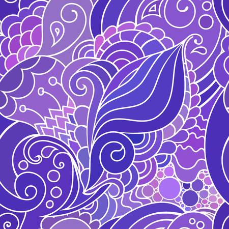 Boho style violet textile pattern with waves and curles. Colorful oriental style seamless background. Ilustração