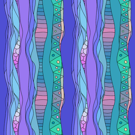 Boho style blue textile pattern with waves and curles. Colorful oriental style seamless background.
