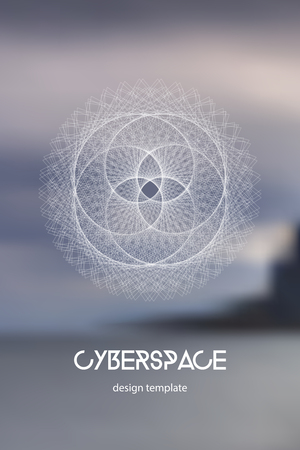 Cyberspace and network connection vector digital illustration. Futuristic technology design template with glowing particles and fractal lines.