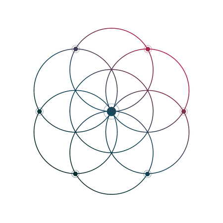 Flower of life sacred geometry minimal tattoo sketch on white background Ilustração
