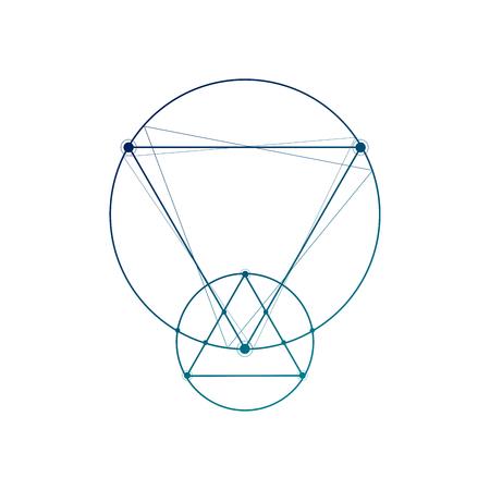 Sacred geometry interlocking geometric shapes minimal tattoo sketch on white