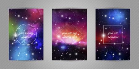 Set romantischer Postkarten für Geliebte mit Weltraum- und Sternenhintergrund und Liebeszitaten