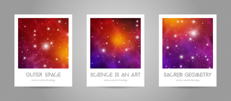 Scientific postcards with copy space. Hipster geometry shapes with space texture. Vector design for music albums, posters, flyers, mobile applications or corporate identity. Vectores