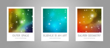 Postales científicas con espacio de copia. Formas de geometría hipster con textura espacial. Diseño vectorial para álbumes de música, carteles, flyers, aplicaciones móviles o identidad corporativa. Ilustración de vector