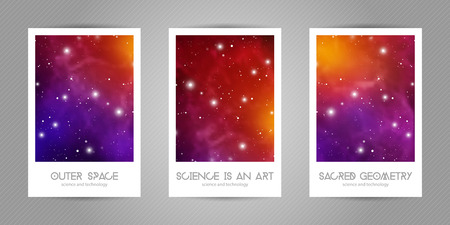 Scientific 4x6 postcards with copy space. Hipster geometry shapes with space texture. Vector design for music albums, posters, flyers, mobile applications or corporate identity. Vectores