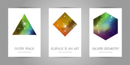 Postales científicas de 4x6 con espacio de copia. Formas de geometría hipster con textura espacial. Diseño vectorial para álbumes de música, carteles, flyers, aplicaciones móviles o identidad corporativa. Ilustración de vector