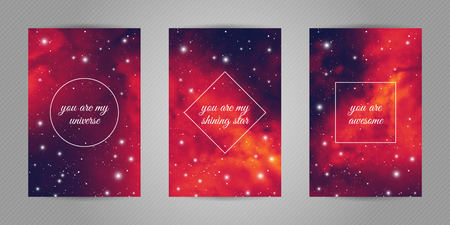 Set of romantic postcards for beloved with space and stars background and love quotes