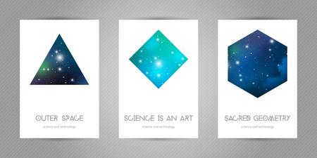 Postales científicas de 4x6 con espacio de copia. Formas de geometría hipster con textura espacial. Diseño vectorial para álbumes de música, carteles, flyers, aplicaciones móviles o identidad corporativa.