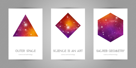 Scientific 4x6 postcards with copy space. Hipster geometry shapes with space texture. Vector design for music albums, posters, flyers, mobile applications or corporate identity. Ilustração