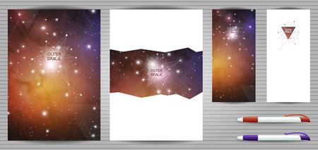 Vector conjunto de plantillas de identidad corporativa y papelería científica. Documento, portada de libro, folleto y bolígrafo. Estilo de geometría sagrada. Matemáticas, naturaleza y espiritualidad en el espacio.