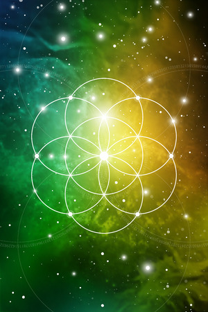 Sacred geometry flower of life art with golden ratio numbers, interlocking circles and particles in front of outer space background. The formula of nature. Ilustração