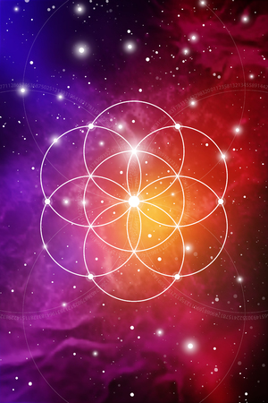 Sacred geometry flower of life art with golden ratio numbers, interlocking circles and particles in front of outer space background. The formula of nature. Vectores