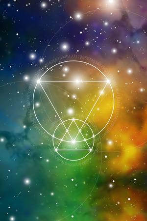 Arte de geometría sagrada con números de proporción áurea, círculos entrelazados, triángulos y cuadrados, flujos de energía y partículas frente al fondo del espacio exterior. La fórmula de la naturaleza.