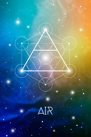 Air element symbol inside Metatron Cube and Flower of Life in front of outer space cosmic background. Sacred geometry magic sign futuristic vector design.