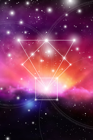 Sacred geometry art with golden ratio numbers, interlocking circles, triangles and squares, flows of energy and particles in front of outer space background. The formula of nature. Vectores