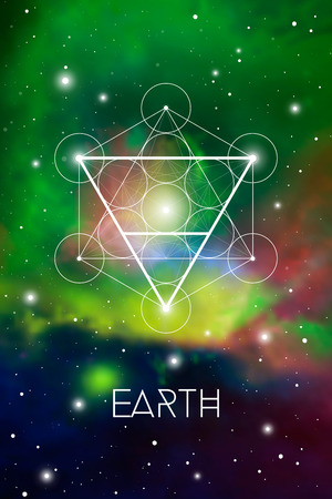 Earth element symbol inside Metatron Cube and Flower of Life in front of green outer space cosmic background. Sacred geometry magic sign futuristic vector design.