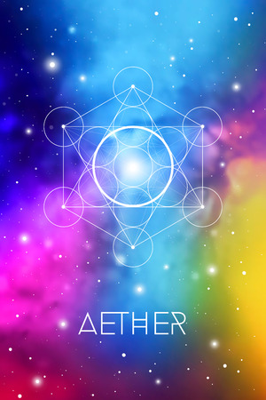 Spirit element symbol inside Metatron Cube and Flower of Life in front of outer space cosmic background. Aether sacred geometry magic sign futuristic vector design.