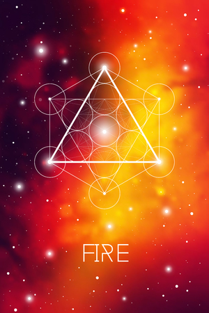 Fire element symbol inside Metatron Cube and Flower of Life in front of red outer space cosmic background. Sacred geometry magic sign futuristic vector design.