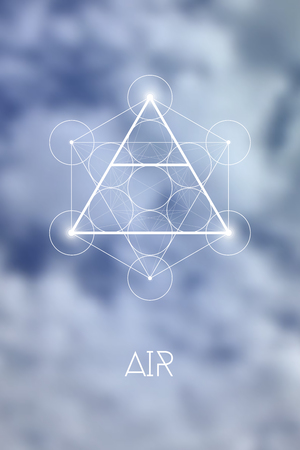Sacred geometry Air element symbol inside Metatron Cube and Flower of Life in front of natural blue blurry background.