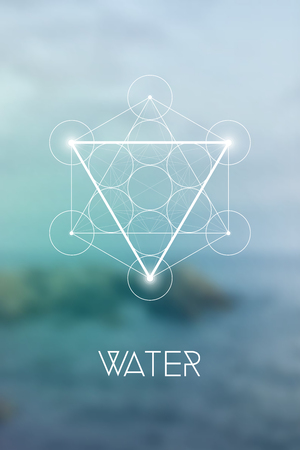 Sacred geometry Water element symbol inside Metatron Cube and Flower of Life in front of blue natural blurry background. Ilustração