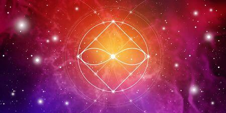 Banner de sitio web de geometría sagrada con números de proporción áurea, símbolo de eternidad, círculos y cuadrados entrelazados, flujos de energía y partículas en el fondo del espacio exterior. La fórmula cósmica de la naturaleza.