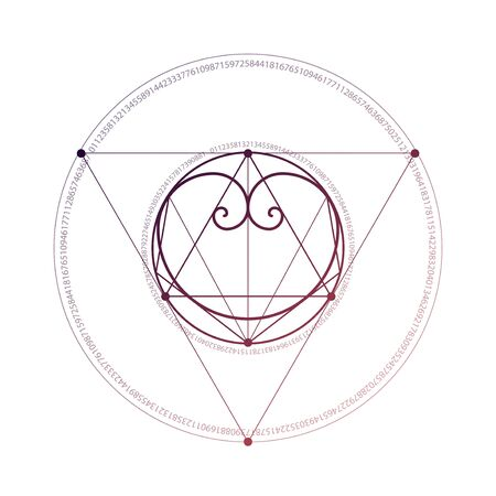 Sacred geometry style romantic love polygonal heart with interlocking futuristic geometric shapes hipster tattoo sketch.