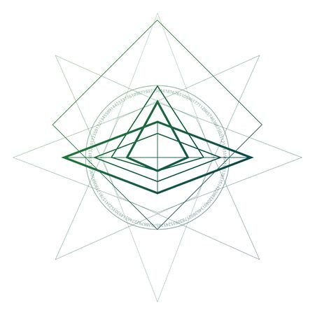 Sacred geometry minimal tattoo sketch with interlocking circles and triangles.
