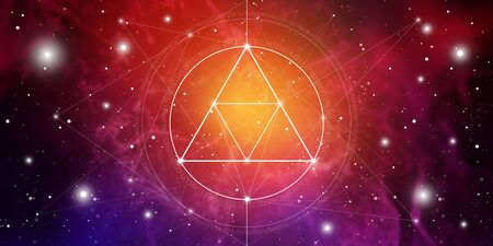Sacred geometry website banner with golden ratio numbers, eternity symbol, interlocking circles and squares, flows of energy and particles in front of outer space background. The formula of nature.